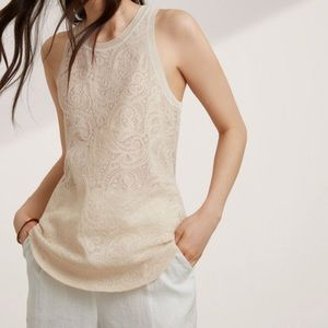 Aritzia Wilfred High Neck White Lace Tank Top